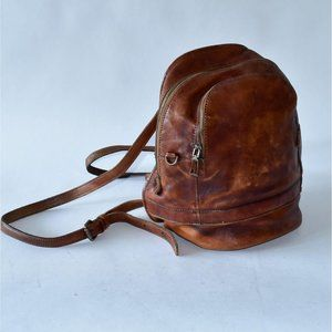 VTG Florence Moon Brown Leather Backpack Purse